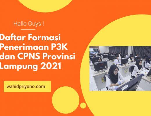 Daftar Formasi Penerimaan P3K dan CPNS Provinsi Lampung 2021