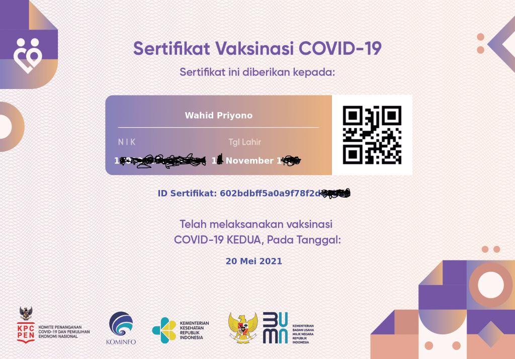 sertifikata vaksinasi COVID-19 milik saya