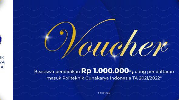 Nih, Ada Voucer Rp.1 Juta Gratis untuk Kamu yang Mau Kuliah di Kampus Politeknik Gunakarya Indonesia
